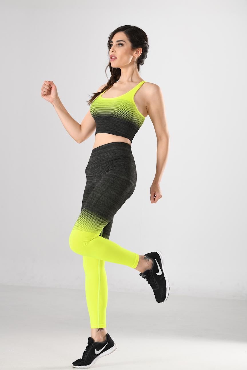 Sport-Bra und Sport-Leggings schwarz/gelb