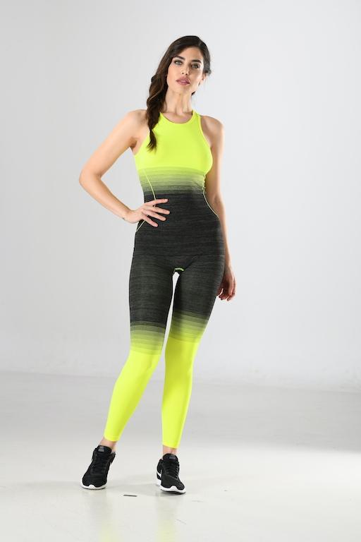 Sport-Hemd und Sport-Leggings schwarz/gelb